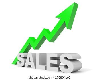 Graph up sales arrow. 3D illustration.