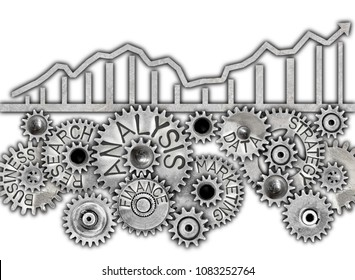 Graph silhouette and tooth wheel mechanism with ANALYSIS concept related words imprinted on metal surface isolated on white