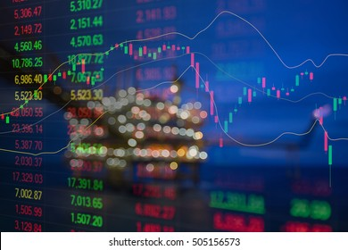 Graph of stock market data and financial with indicator, pricing display on offshore oil and gas processing platform background for world energy and oil price crisis concept.