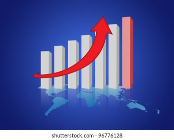 graph of success business company on blue background