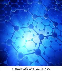 Graphene atomic structure - nanotechnology background illustration
