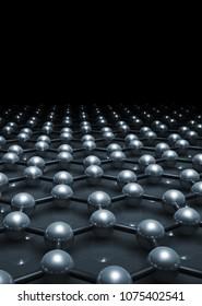 Graphene layer molecular model, hexagonal lattice of carbon atoms in dark. 3d illustration