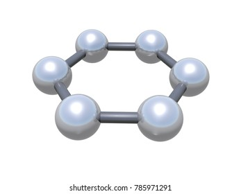 Graphene molecular cluster. Hexagonal structure made of carbon atoms isolated on white background, 3d illustration