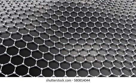 Graphene molecular structure. 3D illustration