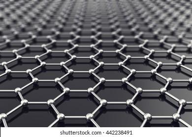 Graphene nanostructure sheet at atomic scale. 3d illustration