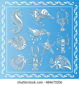 Graphic abstract sea creatures in line art style (set, kit). Suitable for invitation, flyer, sticker, poster, banner, card, label, cover, web.
