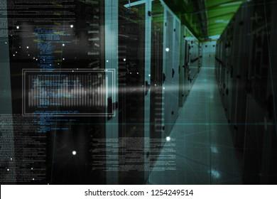 Graphic  against empty server room