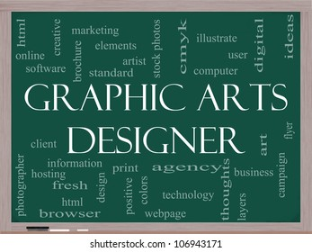Graphic Arts Designer Word Cloud Concept on a Blackboard with great terms such as software, html, client, design and more