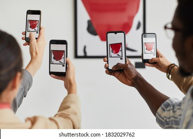 Graphic background of multiple people taking smartphone photos of painting at modern art gallery exhibition, copy space
