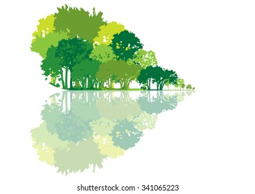 graphic background with trees shaped heart
