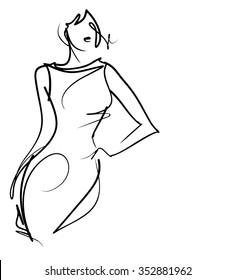 graphic with beautiful young   girl model for design. Fashion, style, youth,   beauty,  . Graphic, sketch drawing. Sexy woman. dress.