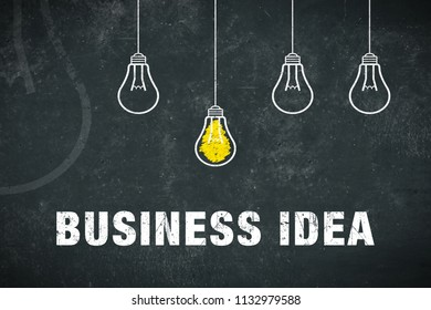 Graphic: Business Idea - lightbulbs on a chalkboard