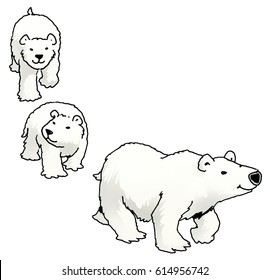 Graphic cartoon illustration icon of a family of polar bears. Mother polar bear leading two cubs. suitable for use as a border or in a page corner