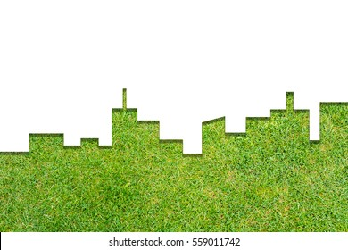 Graphic of City Shape on grass texture background. Green Building Architecture.