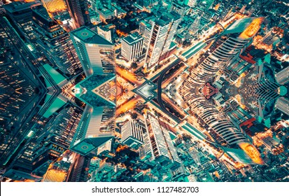 Graphic content abstarct background of city skyline aerial view.