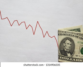 graphic with descending line and american banknote of five dollars