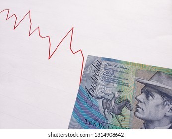 graphic with descending line and australian banknote of ten dollars