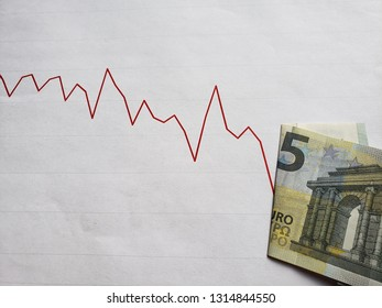 graphic with descending line and european banknote of five euro