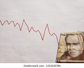graphic with descending line and peruvian banknote of twenty soles