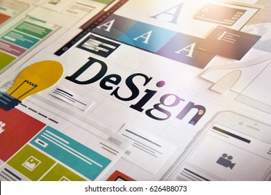 Graphic design. Concept for different categories of design such as graphic and web design, logo, stationary and product design, company identity, branding, marketing material, mobile app, social media