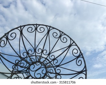 Graphic design of ironwork with hearts