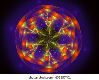 Graphic Design. Magic energy multicolored fractal. 3D rendering.