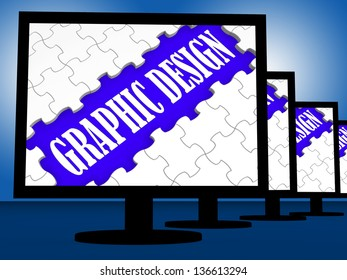 Graphic Design On Monitors Shows Digital Drawing And Concept