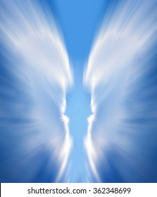 Graphic design with an white abstract shape of a angel on the sky