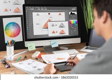 Logo-Design für Grafikdesignskizzen Das Konzept einer neuen Marke. Professionelle, kreative Beschäftigung mit Ideen.