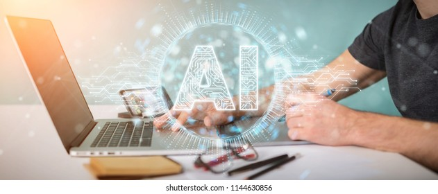 Graphic designer on blurred background using digital artificial intelligence icon hologram 3D rendering