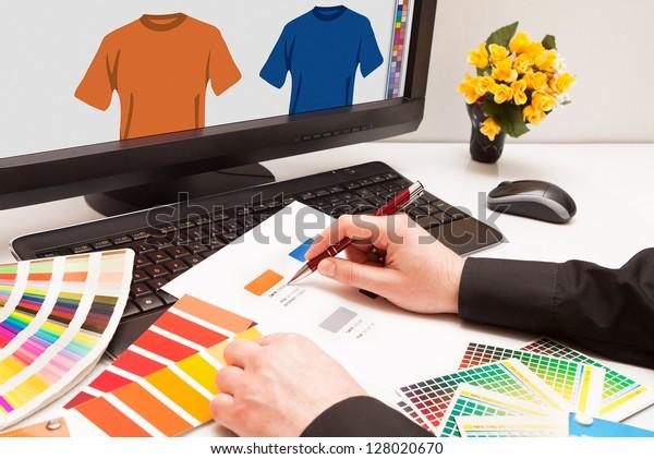Graphic designer at work. Color samples.Illustration picture