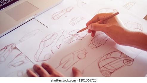 Graphic designer Work drawing sketch design developement Prototype car Automotive industrial creative visual concept