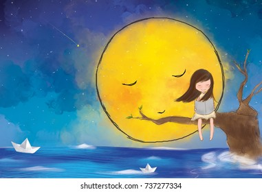 graphic digital drawing of lonely girl sitting on tree branches reading book over yellow giant full moon starry night sky. Paper boat float in ocean. Idea of freedom, peaceful, joy, journey, dreaming