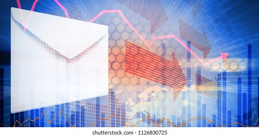 Graphic of Envelope on white background against stocks and shares