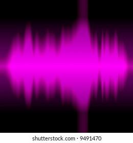 A graphic equalizer soundform illustration over black.