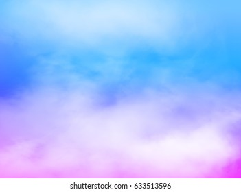 graphic fog background. Blue sky with white clouds template. Pastel color with blue, pink and purple wallpaper. Idea of heaven, environment, space, nature, mist, art, smoke
