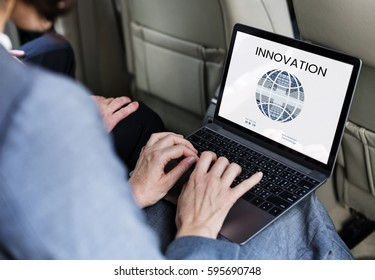 Graphic of global communication connection technology on laptop