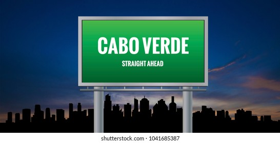Graphic of a green Cabo Verde Straight Ahead sign on silhouette skyline and sunset background