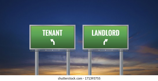 Graphic of a green landlord and tenant sign on sunset background
