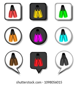 Graphic icon illustration for set symbols rubber flippers for sea swimming. Flipper pattern consisting of flat design with elements web apps. Collection modern infographic pictogram, icons flipper.