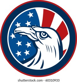 graphic illustration of an American eagle with stars and stripes flag set inside a circle on white background