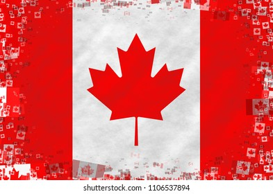 Graphic illustration of a Canadian flag with small flags as a frame