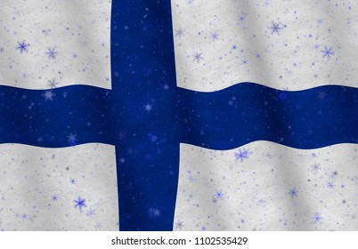 Graphic illustration of a flying Finnish flag with snowflakes scattered around