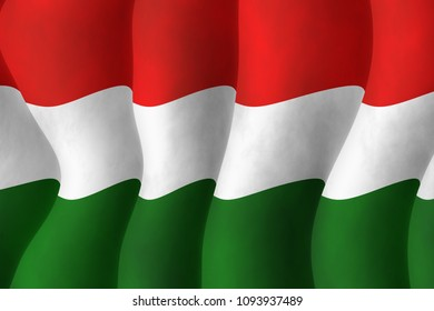 Graphic illustration of a flying Hungarian flag