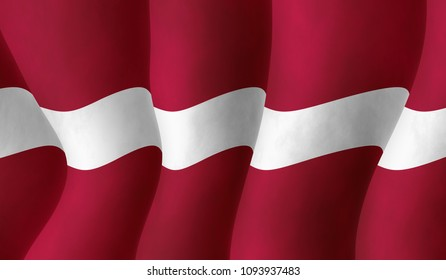 Graphic illustration of a Latvian flying flag