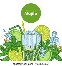 Graphic illustration of a Mojito cocktail and all its ingredients, restaurant or bar menu, classic recipe, lime, mint and rum.