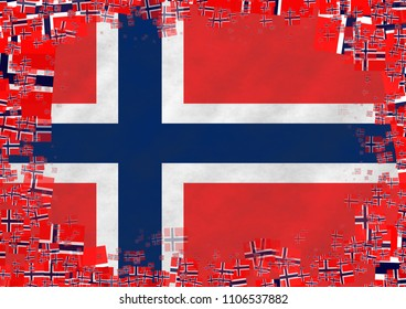 Graphic illustration of Norwegian flag with a frame of small flags