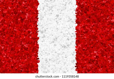 Graphic illustration of a Peruvian flag with hearts scattered around