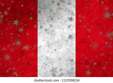 Graphic illustration of a Peruvian flag with stars scattered around