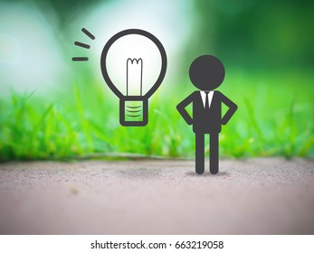 graphic image of businessman have idea on nature blur background, business concept